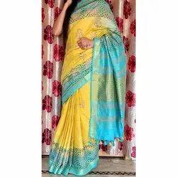 Casual Wear Batik Print Ladies Cotton Printed Saree, With blouse piece, 6.30 Meter