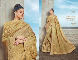 Designer Golden Ethnic Party Sarees