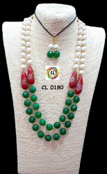 Cl Jewellery Agate Stone Layered Women Jewellery Fancy Necklace Set
