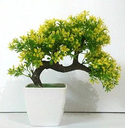 DecoratingLives Bonsai Wild Plant Artificial-Plant with Pot, Medium (Yellow)