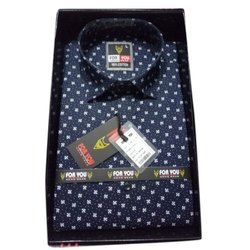 Blue Men Party Wear Cotton Shirt