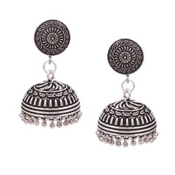 White Metal Silver Plated Oxidized Earrings