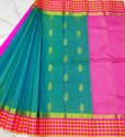 Checked Border Korvai Silk Saree