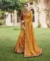 Orange Cotton Silk Embroidered Saree, 5.5 M Separate Blouse Piece