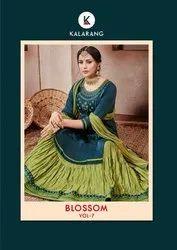 Stitched Jam Silk Cotton Blossom Vol 7 Kalarang Lehengha