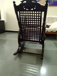 spandana impex Black Brown Rocking Chair teak wood