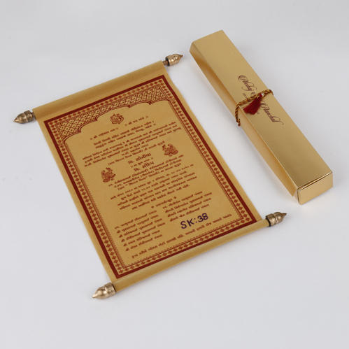 Traditional Scroll Indian Wedding Invitation Card In Golden Velvet Shape Portrait