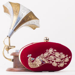 Ladies Silk Ethnic Bead Embroidery Clutches