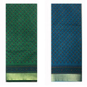 Dark Green Cotton Printed Saree