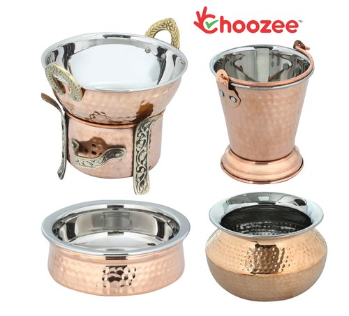 Choozee - Copper Serving Handi Set of 5 Pcs (Including Bucket and Food Warmer)(400 ML)