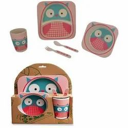 Set of 5 Pieces Bamboo Fiber Baby Dinner And Picnic Set