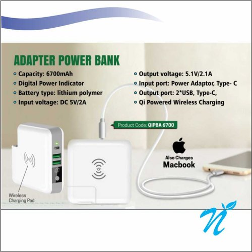 White Adapter Wireless Power Bank With C Output 6700 mAh