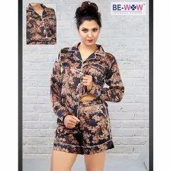 Rayon Full Sleeve Girls Designer Night Short Set, T-Shirt, Shorts, Packaging Type: Packet