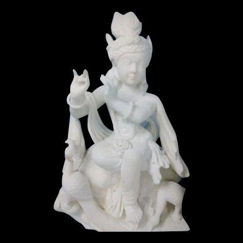Polished White Krishna Marble Statue