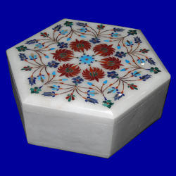 White Stone Inlay Marble Box