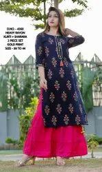 Casual Wear 3/4th Sleeve Split Long Sharara Salwar Kurti, Size: 38-44, Wash Care: Handwash