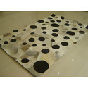 Black And White Circle Leather Rug