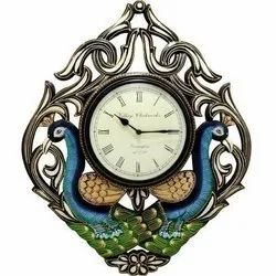 Wooden Double Peacock Analog Wall Clock