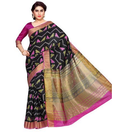 cbd9b16faceadd Black And Pink Party and Casual Wear MIMOSA Zig Zag Design Border Ikkat  Style Tussar Silk