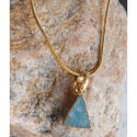 Handmade Gold Plated Druzy Gemstone Pendant With Chain