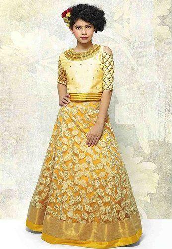f3c279fee80 Indian Ethnic Designer Mustard Yellow Kids Party Wear Lehenga Choli ...