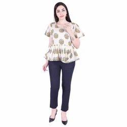 Lavanya Half Sleeves Cotton Jaipuri Print Top with Pant Set