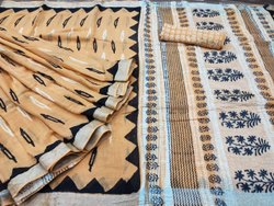 Cotton Linen Saree With Bp