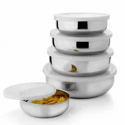 Stainless Steel Bowl Set with Lid Air-Tight Set of -5 (1200ml, 800ml, 600ml, 400ml, 200ml)