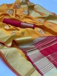 Soft Raw Silk Saree With Embroidered Work All Over Zari Saree