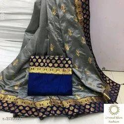 Kundan Work Border Tanya Gorgeous Two Tone Silk Sarees, 5.5 m (separate blouse piece), Machine Made