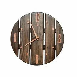 Teak Wood Analog Decorative Round Wall Clock