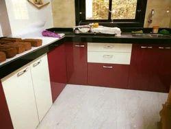 Wooden White & Marron L Shape Modular Kitchen (High Gloss Laminate Finish), Warranty: 10-15 Years