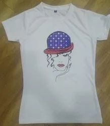 Polyester 24 Colours Sublimation Ladies T Shirt, Size: S TO 2XL, Age Group: Girls,Ladies