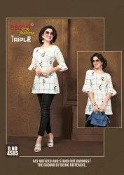 Casual Wear Ladies Rayon Top, Size: Small