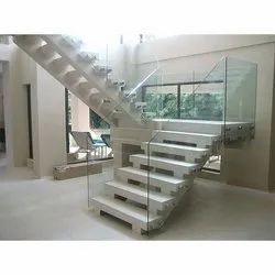 Stairs Toughened Glass Frameless Glass Railing, for Office, Home