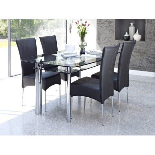 4 Chairs 1 Table Glass Top Dining Table Set Rs 10000 Set Swaraj Interiors Id 20995033397