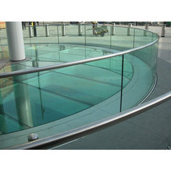Transparent Toughened Glass, For Office, Shape: Curve
