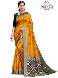 Designer Art Silk Saree With Blouse By Parvati Fabric