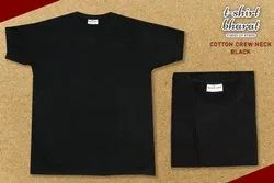 Casual Wear Half Sleeve Black Round Neck Pure Cotton T-Shirt, Quantity Per Pack: 100