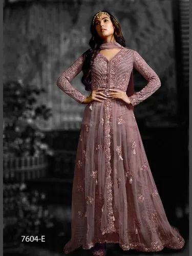 Semi Stitched Wedding Designer Heavy Net Gown With Heavy Embroidery Work Rs 1250 Piece Id 21848882655