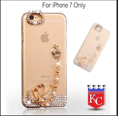 9276720882 Crystal Pink Diamonds Love Swan Transparent Soft Back Cover for iPhone 7