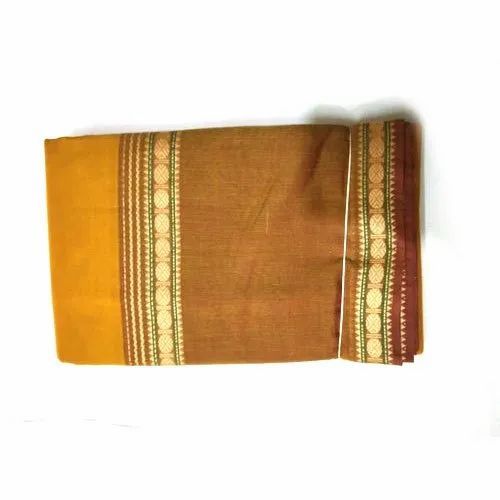 Casual Wear Yellow Handloom Cotton Saree, Packaging Type: Plastic Bag, 6 m (with blouse piece)