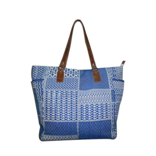 Angel Creation Blue / Naturel Ladies Jacquard With Leather Handle Shopper Bag