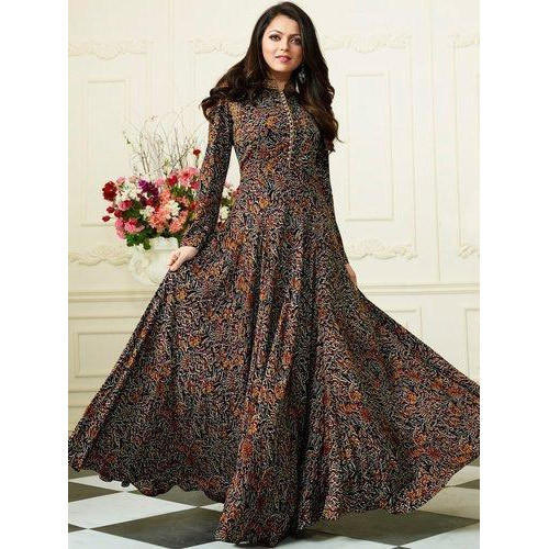 Printed S And XL Ladies Stand Collar Floor Length Anarkali Kurti