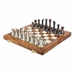 Brass Steel Sleek Modern Chess Set
