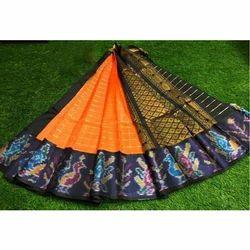Orange And Black Silk Kuppadam Peacock Border Saree, 5.5 M (separate Blouse Piece)