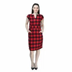 Casual Wear Ladies Checked Cotton Dress