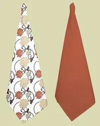 Flower Print And Plain Kitchen Towel Set