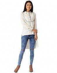 Women White Self Print Handloom Shirt