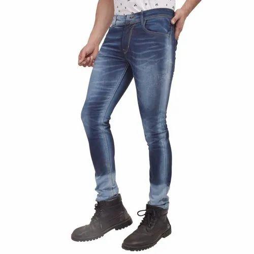 Skupar Casual Wear Faded Slim Fit Men Denim Jeans